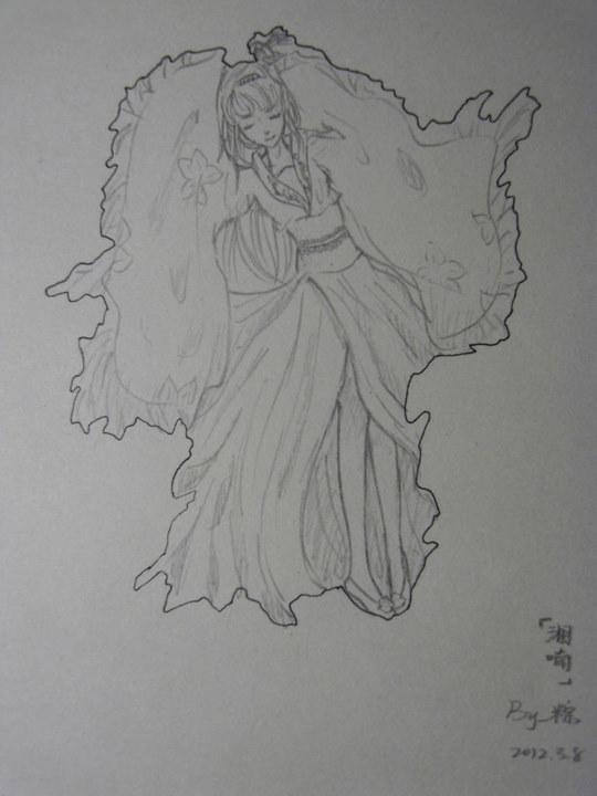古装美女手绘图黑白